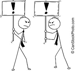 Conceptual Cartoon of Two Arguing Businessmen With Exclamation Mark Signs