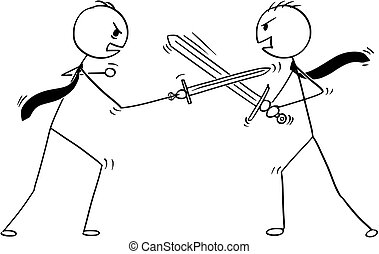 Conceptual Cartoon of Two Businessmen Arguing and Fighting