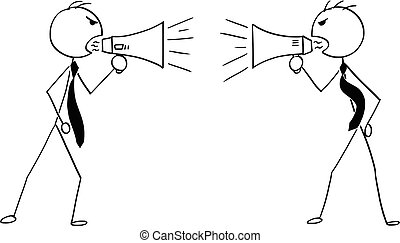 Conceptual Cartoon of Two Businessmen with Megaphones