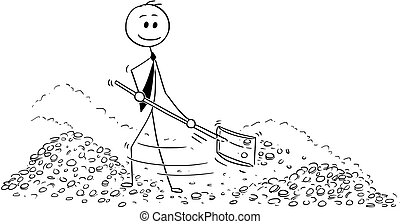 Conceptual Cartoon of Wealthy Businessman Shovel Gold Money Inside Vault