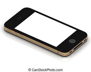 conceptual, caso, smartphone, oro
