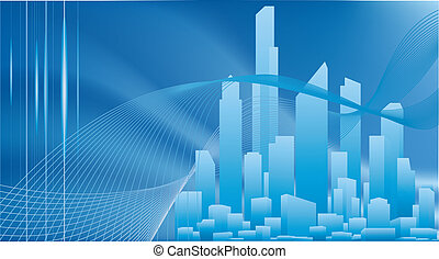 A conceptual city business background with urban cityscape