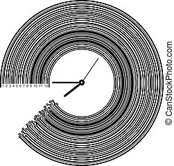 Conceptual clock with elements of PCB or barcode. High tech vector illustration.