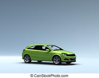 conceptual, coche verde, con, ruta de recorte