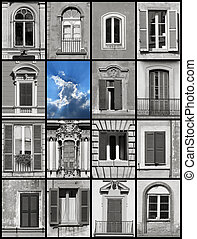 Conceptual collage - windows and sky - Conceptual collage -...