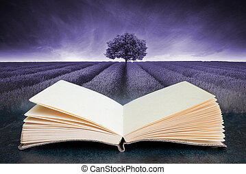 Conceptual composite open book image of Beautiful image of lavender field landscape with single tree toned in mauve