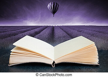 Conceptual composite open book image of Lavender field Summer sunset landscape with hot air balloon toned