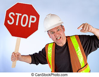 Conceptual Construction Worker Asking to Stop Doing Something