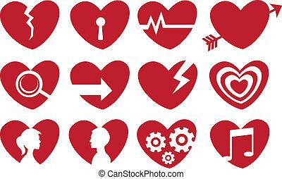 conceptual, corazón rojo, icono, conjunto