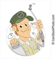 Conceptual Creative Artistic Design Art of Cartoon Exterminator Man Vector Illustration