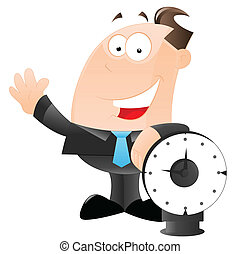Businessman with Clock Vector