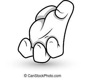 Cartoon Hand Crush Gesture Vector - Conceptual Design Art of...