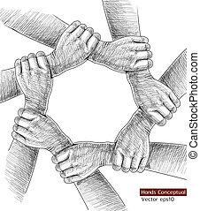 conceptual., dessin, mains