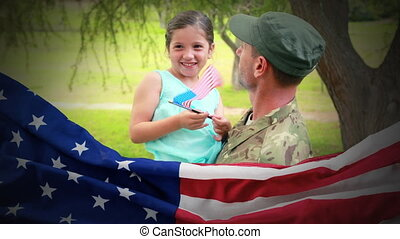Conceptual digital animation showing a child interacting with American soldier on home returning 4k