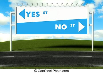 Conceptual direction signs lead to yes or no, concept