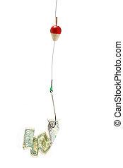 Conceptual. Dollar bill in a hook - Money on a fishing hook...