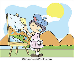 Young Girl Painting a Landscape