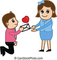 Proposing a Girl with a Love Letter - Conceptual Drawing Art...