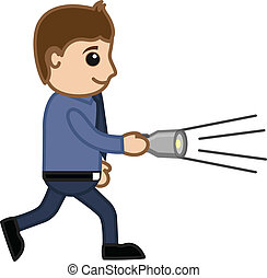 Man Finding with Torch Vector