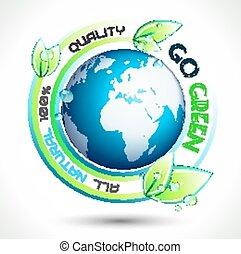 conceptual, ecología, fondo verde