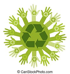 Conceptual ecology illustration with hands and recycling sign. vector