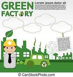 conceptual., fabbrica, verde
