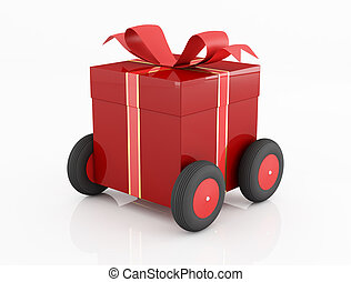 conceptual for many use, red gift box on wheels isolated on white