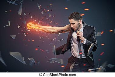 conceptual, foto, ambicioso, hombre de negocios