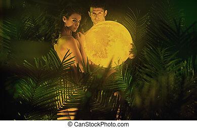 conceptual, foto, de, el, pareja, proceso de llevar, la luna