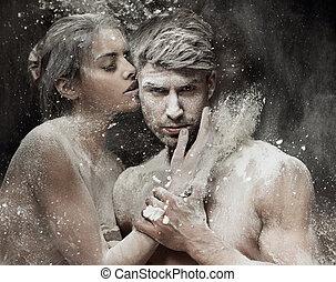 conceptual, foto, pareja, arena