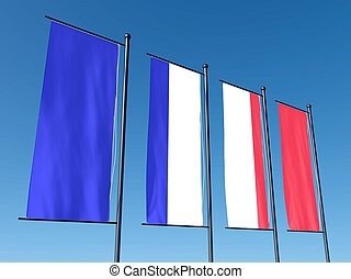 Conceptual French flag split into several flags on sky