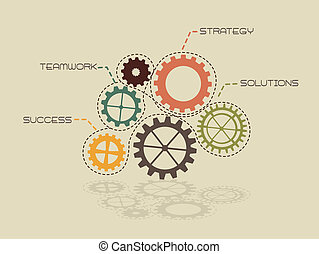 conceptual gears of strategy, vintage. vector illustration