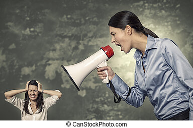 Conceptual Giant Office Woman Shouting Using Megaphone to Stressed Woman Against Abstract Background.