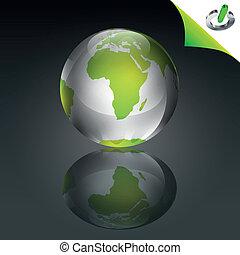 Conceptual Green Globe - Conceptual green globe with green...