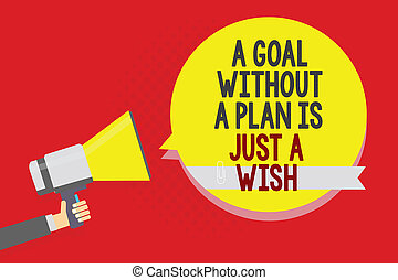 Conceptual hand writing showing A Goal Without A Plan Is Just A Wish. Business photo text Make strategies to reach objectives Man holding megaphone loudspeaker yellow bubble on red background.