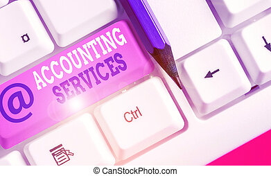 Conceptual hand writing showing Accounting Services. Business photo text analyze financial transactions of a business or a demonstrating.