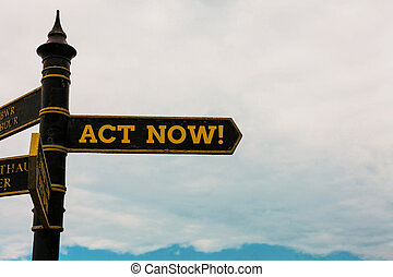 Conceptual hand writing showing Act Now. Business photo text fulfil the function or serve the purpose of Take action Do something Road sign on the crossroads with blue cloudy sky in the background.