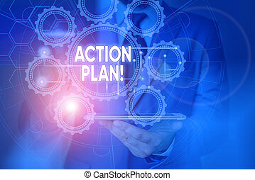 Conceptual hand writing showing Action Plan. Business photo showcasing proposed strategy or course of actions for certain time Picture photo network scheme with modern smart device.