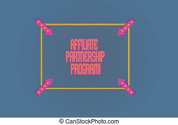 Conceptual hand writing showing Affiliate Partnership...