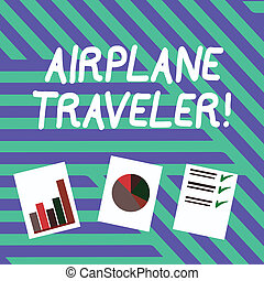 Conceptual hand writing showing Airplane Traveler. Business photo text the action or process of making a journey by aircraft Presentation of Bar, Data and Pie Chart Graph on White Paper.