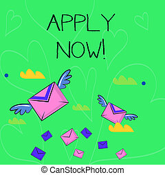 Conceptual hand writing showing Apply Now. Business photo showcasing request something officially in writing or by sending in form Colorful Airmail Letter Envelopes and Two of Them with Wings.