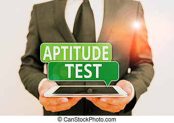 Conceptual hand writing showing Aptitude Test. Business ...
