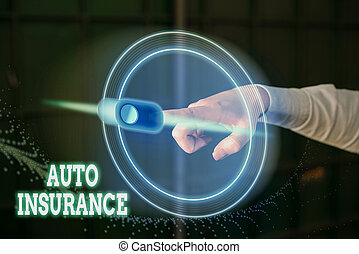 Conceptual hand writing showing Auto Insurance. Business photo showcasing mitigate costs associated with getting into an auto accident.