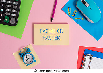 Conceptual hand writing showing Bachelor Master. Business...