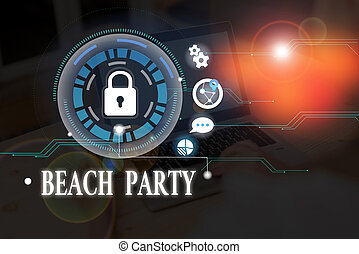 Conceptual hand writing showing Beach Party. Business photo text large group of showing are organizing an event at the beach.