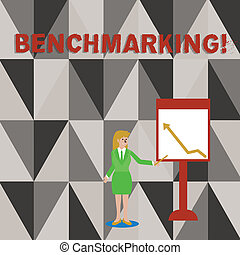 Conceptual hand writing showing Benchmarking. Business photo text evaluate something by comparison with standard or scores Woman Holding Stick Pointing to Chart of Arrow on Whiteboard.
