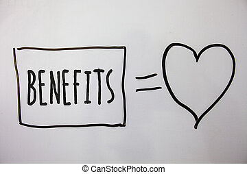 Conceptual hand writing showing Benefits. Business photo...