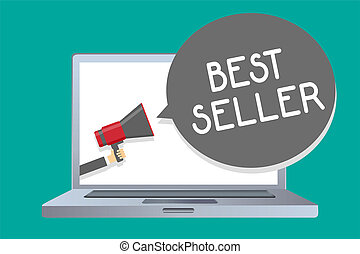 Conceptual hand writing showing Best Seller. Business photo showcasing book or other product that sells in very large numbers Man holding megaphone loudspeaker speech bubble message loud.