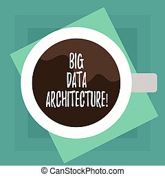 Conceptual hand writing showing Big Data Architecture. Business photo text designed to handle the analysis of too large data Top View of Drinking Cup Filled with Beverage on Color Paper.
