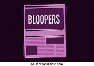 Conceptual hand writing showing Bloopers. Business photo ...